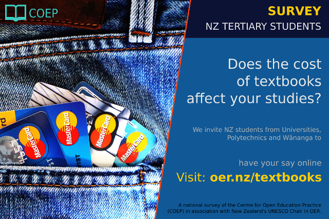 Image of credit cards in back pocket to promote survey on textbook cost